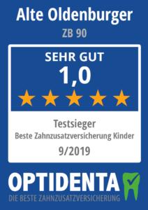 Beste Zahnzusatzversicherung 2019 für Kinder Testsieger Alte Oldenburger ZB 90