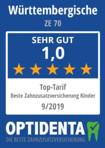 Beste Zahnzusatzversicherung 2019 für Kinder Top Tarif Württembergische ZE 70