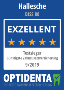 Günstigste Zahnzusatzversicherung 2019 Testsieger nach Art der Lebensversicherung Hallesche BISS 80