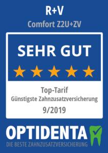 Günstigste Zahnzusatzversicherung 2019 Top-Tarif nach Art der Lebensversicherung R+V Comfort Z2U + ZV
