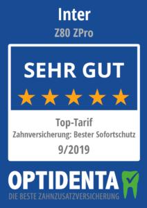 Beste Zahnzusatzversicherung 2019 Top-Tarif Sofortschutz INTER Z 80 Z Pro